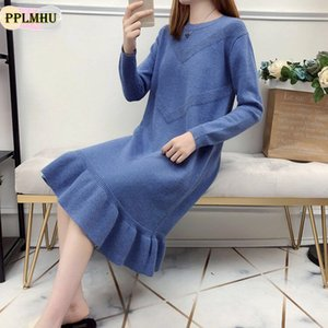 New Ruffle Loose Sweater Dress Autumn Winter Casual Long Sleeve Bodycon Dresses Ladies Plus Size Knitted Trumpet Dress 201022