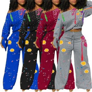 Women Splash Ink Tracksuit Graffiti Streetwear Wide Legs Pant Outfit Casual Long Sleeve Off Shoulder Tops T-shirt Trousers Suit D102806
