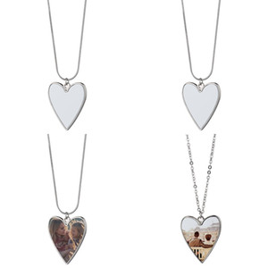 Sublimationsrohling Metall Anhänger Herzform Charme Frauen Dame Halsketten Edelstahl Kette Valentines Party Geschenke 5 5MO N2