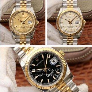 Top 36mm flauta bezel mens automático cal.3135 relógio ar fábrica 904L aço ouro homens 116233 preto jubilee pulseira champanhe 116231 ETA relógios