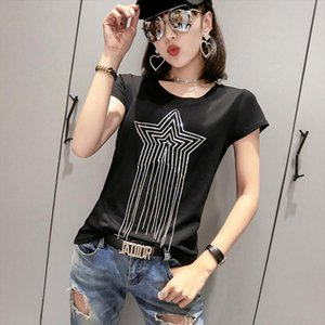 Solid O Neck Tshirt 2020 New Summer Star Beading High Street Fashion Cotton Top Clothes Shirt Camiseta Mujer Black White T94803L