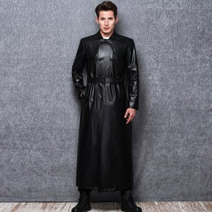 Lautaro Long black leather trench coat men long sleeve double breasted spring autumn plus size pu leather mens clothing 6xl 7xl 201119