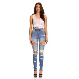 New women's fashion ragged jeans, tight-fitting denim jeans, ripped women's jeans sexy mid-waist stretch slim fit, women's je