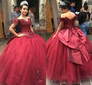 Dark Red Prom Gowns Vestidos De Quinceanera Dresses Pearls Applique Hand Made Flowers Ball Gowns Off The Shoulder Sweet 16 Dress Girls