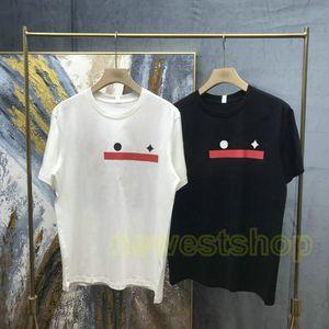 2021 Estate Europa Designer Brand Mens Paris Star Star Red Letter Striatod Block Pulsante Tshirt Button T-shirt T-shirt Moda T-shirt Casual Top Top