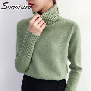 SURMIITRO camisola de malha Mulheres Outono Inverno coreano Cashmere Turtleneck manga comprida Pullover Feminino Jumper Knitwear 201016