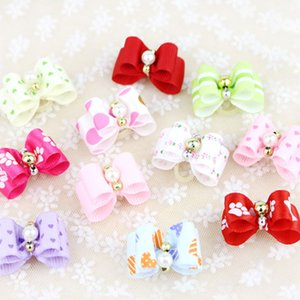 New Fashion Pet Puppy Mini Rubber Pearl Crystal Hairpin Bows Dog Cat Grooming Decor Headdress Hair Accessories Christmas Gift