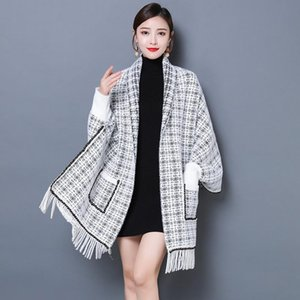 Autumn winter Cardigan Woman Sweaters Faux Mink Houndstooth Cape Lady England Fashion Tassel Shawl Women Nice Knitted Tops Scarf