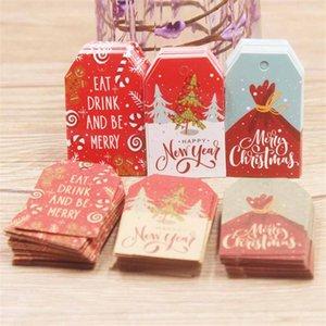 100 adet 5 * 3 cm Merry Christmas Etiketleri Kraft Kağıt Kart Hediye Etiket Etiketi DIY Asmak Etiketleri Hediye Sarma Dekor Hediye Kartı GWA1580