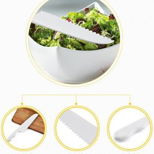 Kitchen Knife For Kids Saftey Knife Lettuce Salad Knife Serrated Plastic Cutter Slicer Cake Bread Cook Children DIY 28.5*5CM BWC4028