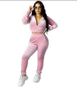 Fashion Autumn Women Clothes Two Piece Velour Tracksuit Long Sleeve Crop+Pant Velvet Set for Woman Sport Suit S-2XL