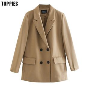 TOPPIES Frauen langen Blazer Doppelreiher Jacke lose übergroßen Mantel Normallack formale Blazer 200930
