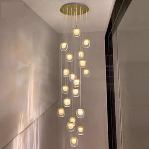 New modern chandelier lighting for staircase  led crystal light lobby hallway decoration light fixtures AC 90-260V