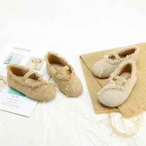 Girls Shoes All-match Kids Shoes Linen Princess New Spring Flats Soft Bottom Childrens Meisjes Schoenen Chaussures