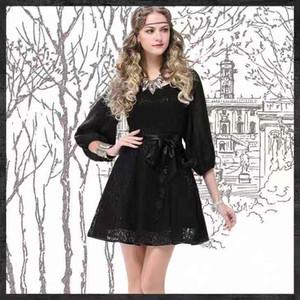 Brand women's 2020 autumn new round neck black medium long skirt retro hollow long sleeve slim dress 6513
