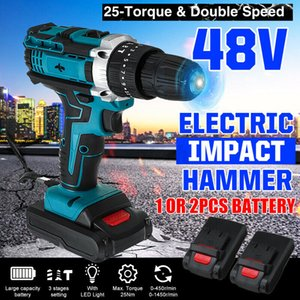 48V 1500RPM Electric Hammer Drill Cordless 28N.m LED Screwdriver 1 2