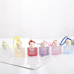 Colorful Car Perfume Bottle Pendant Essential Oil Diffuser Ornaments Air Freshener Pendant Empty Perfume Glass Bottle T2I51648