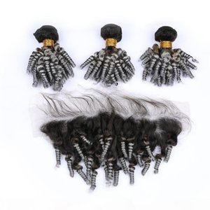 Virgin Malaysian Aunty Funmi Silver Grey Ombre Human Hair Bundles with 13x4 Lace Frontal Sprial Curly #1B Grey Ombre Weaves with Frontal
