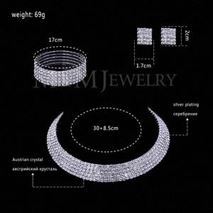 Atacado Limpar cristal austríaco Silver Plated conjuntos de jóias rodada colar brincos pulseira para mulheres casamento Acessório TL294 + SL090 6VK2 #