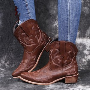 2020 Classic Embroidered Western Cowboy Boots for Women Leather Cowgirl Boots Low Heels Shoes Knee High Woman #il98