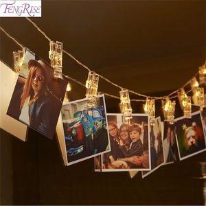 FENGRISE 1.2M 10 LED Photo Clip String Lights Romantic Wedding Decoration Fairy Light Christmas Decor Birthday Party Favors