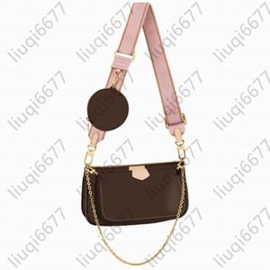 Fashion handbags purses Women favorite mini pochette 3pcs accessories crossbody bag vintag shoulder bags leather multi color straps wall JCa