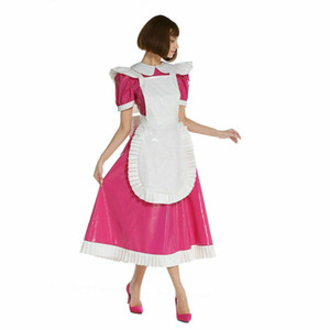 Sissy sogno della domestica con serratura di media lunghezza vestito dal PVC cosplay di trasporto