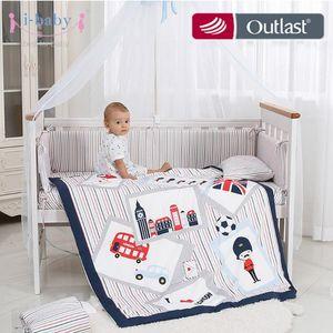 i-baby Baby Bedding Set 9pcs Crib Sets England Time Cotton Printed Cot Sheet Duvet Pillow Quilt Set in Crib for Newborn Boy Girl