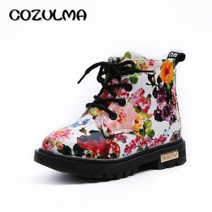 Cozulma Boys Girls Sneakers Elegante Floral Floral Stampa Scarpe Per Bambini Sneakers Boots Bambino Toddler Martin Boots Leather Children Sneakers LJ201202