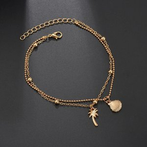 Double Layer Feather Bohemian Anklets For Women Foot Anklet Vintage Summer Beach Female Charm Barefoot Sandal Leg Chain Jewelry H bbyyjQ