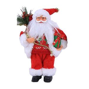 Claus 30cm C3 Weihnachten sitzen Sankt-Verzierung Simulierte Old Man-Maske Plüsch Figur Spielzeug Animation Puppe Weihnachtsgeschenk Dekoration Startseite Edon #