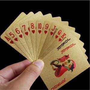 24K Gold Playing Cards Poker Game Deck Gold Foil Poker Set Plastic Magic Card Waterproof Cards Magic