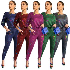 Printed Womens Tracksuits O Neck Long Sleeve Slim Two Piece Set for Women Casual Ladies 2PCS Outfits