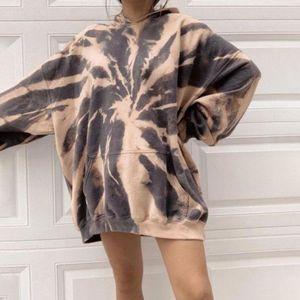 Autumn Tie-dye Dropped Shoulder Hoodies Women Pocket Oversize Casual Long Hoodie Female New Streetwear Ladies Hoode Tops 201020