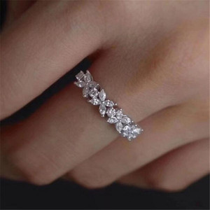 Simple Fashion Jewelry Handmade 925 Sterling Silver Marquise Cut White Topaz CZ Diamond Gemstones Women Wedding Bridal Ring Gift Size 6-10