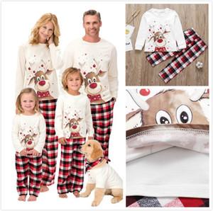 Matching Family Christmas Pajamas Women Men Plaid Deer Sleepwear Boys Girls Elk Printed Clothes Pjs Parent-child Wear Long Sleeve Pajamas