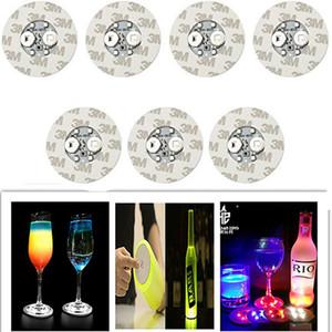 파티 바 클럽 꽃병 와인 유리에 LED 병 스티커 컵 받침 등 4LEDs 장식 라이트 6cm 라운드 맥주 음료 등