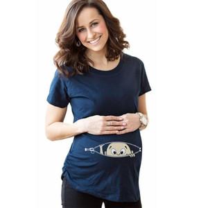 Mode drôle robe de maternité mignon bébé design ouvert à fermeture éclair libre imprimé estival Summer manches chemise femme femme nouveauté vêtements 19zc l2