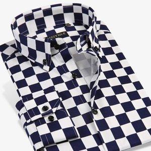 Grevol Neue Ankunft Männer Mode Lässige Kleidung Einzigartige Design Checker Plaid Langarm Hemden Moderne Schachbrettelemente Y200409