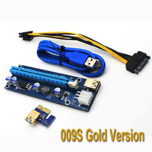 Ver 009S PCI-E 1X to 16X Riser Card Extender PCI Express 6Pin Sata Power Adapter USB 3.0 Cable For Bitcoin Antminer Miner Mining