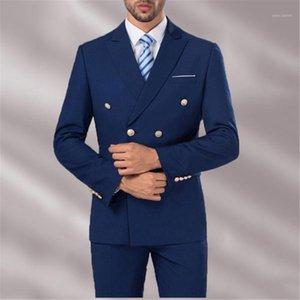 2018 su misura Uomini blu navy abiti Smart Casual Peaked Giacca con risvolto doppio petto uomo Blazer Business da sposa Prom Txedo Pants1
