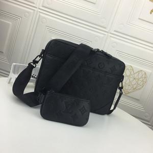 Cuero genuino de la bolsa de mensajero para hombre del diseñador del hombro del bolso de Crossbody del monedero 2 Piezas (Negro)