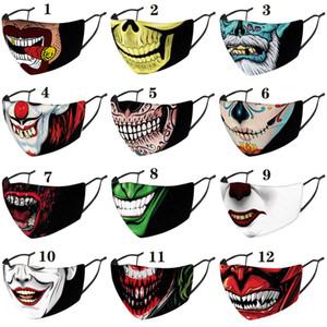 Halloween masques créateur de mode masque de visage de clown de Noël imprimé masque facial antipoussière Parti coupe-vent Masques adultes avec mascarilla noir