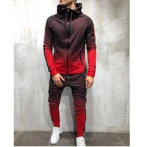 2019 Горячий стиль 3d повседневная градиентная печать zip хип-хоп спортивный мышц мужской костюм Jogger мода топ + брюки m-4 xl1