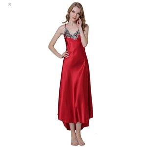 Moda kadın Seksi Nakış Dantel Çiçek Uzun Gecelik Saten Gece Elbisesi Pijama Kadın Ipek Elbise Nighties Homewear Gömlek S923