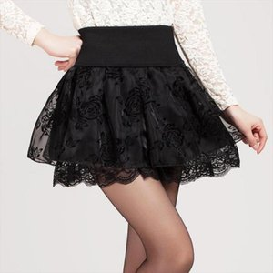 2018 Summer Skirt Preppy Style Flower Bow Mini Tutu Skirt Elasticity Lace Skirts Shorts Woman High Waist Large Size