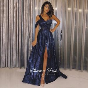 Блеск темно-синие синие одно плечо вечернее платье с разделенным длинным Дубай Платья выпускного вечера 2021 элегантные женщины свадебные формальные партии LJ201119