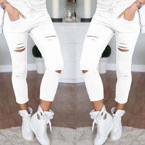 New Fashion Pants Women Leggings Holes Pencil Stretch Casual Denim Skinny Ripped Pants High Waist Jeans Trousers