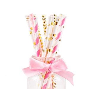 Pineapple Star Stripe miscelazione paglie festive 25pcs / lot rifornimenti di nozze festa di compleanno monouso degradabile papino colorato