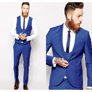 الرجال الدعاوى الحلل مخصص الملكي الأزرق الرجال البدلة الكلاسيكية العريس البدلات الرسمية السترة prom رجل العريس 2021 (سترة + بانت + سترة + التعادل) 1